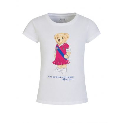 Kids White Polo Bear Dress T-Shirt