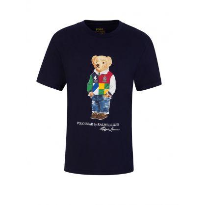 Kids Navy Polo Bear Mascot T-Shirt