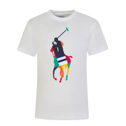 Kids White Polo Player Graphic T-Shirt