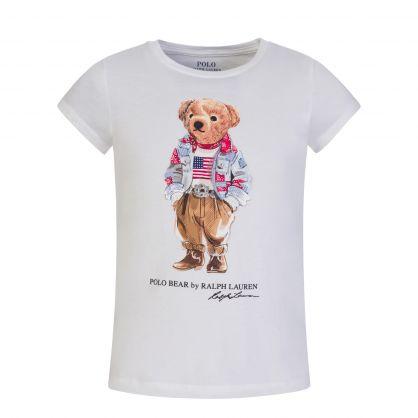 Kids White Americana Bear T-Shirt