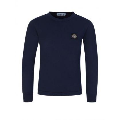 Junior Navy Blue Compass Patch Logo T-Shirt