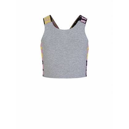 Grey Logo Sports Crop Top