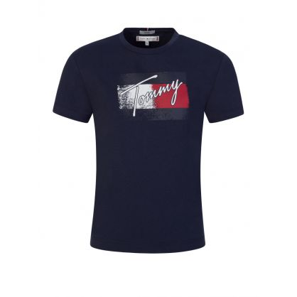 Kids Navy Classic Flag Logo T-Shirt