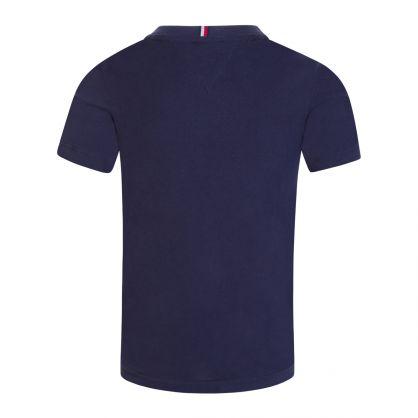 Kids Navy Printed Chest Logo T-Shirt