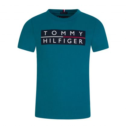 Kids Teal Essential Printed Chest Logo T-Shirt