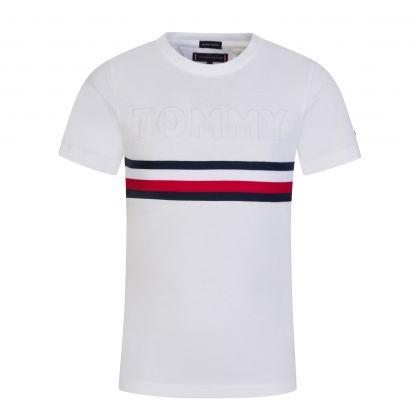 Kids White Embossed Tonal Logo T-Shirt