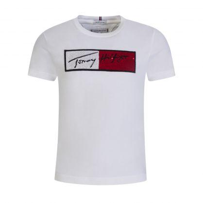 Kids White Sequin Flag T-Shirt