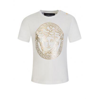 White Junior Medusa Foil-Print T-Shirt