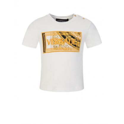 White Baroque Chest Logo T-Shirt