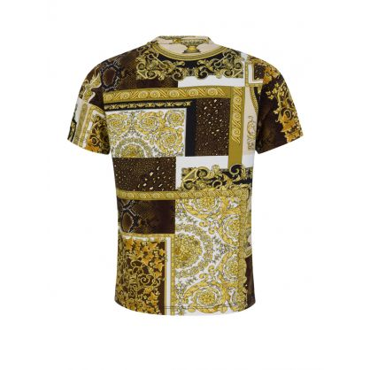 Gold/Brown Baroque-Print Mosaic Junior T-Shirt