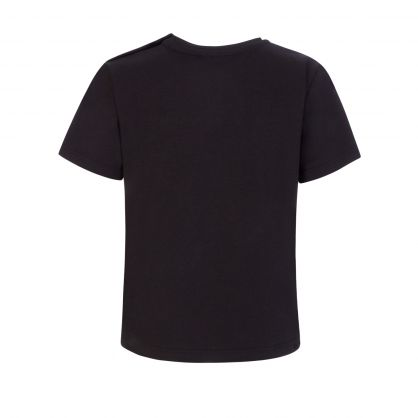 Black Embroidered Gold-Tone Logo T-Shirt