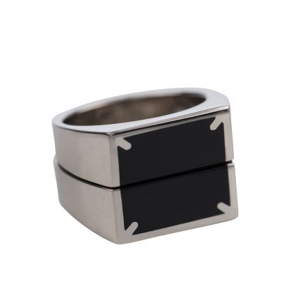 Black/Silver Square Front Ring