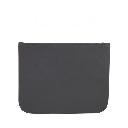 AMI Grey Grained Leather Zip Pouch