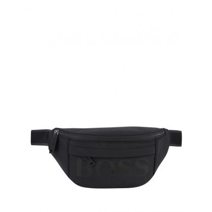Black Structured Nylon Logo Waist Bag