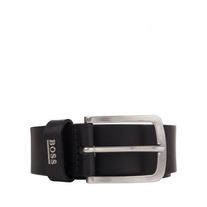 Black Leather Jor Logo Belt