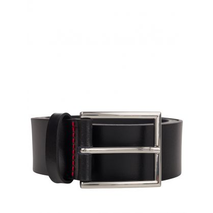 Black Leather Giaspo Belt