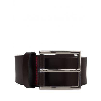 Brown Giaspo Leather Belt