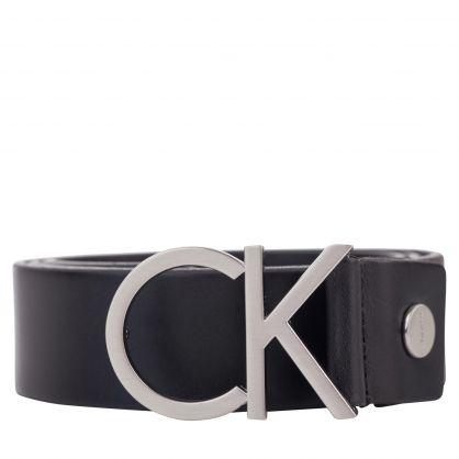 Black/Silver Leather CK Buckle Belt