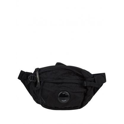 Black Garment-Dyed Nylon Lens Waist Bag