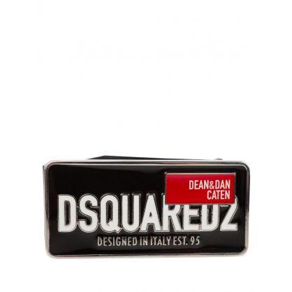 Black Red Label Brand-Plaque Leather Belt