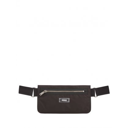 Black Zip Nylon Waist Bag