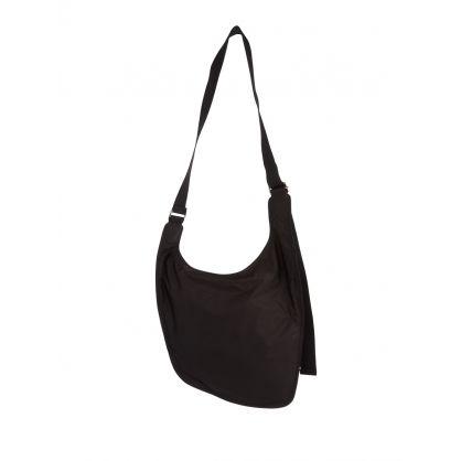 Black Nylon Double Pocket Crossbody Bag