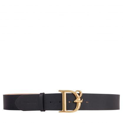 Black Genuine Leather D2 Statement Belt