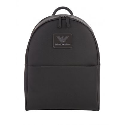 Black Twill Logo Patch Backpack