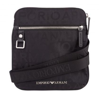 Black Nylon Jacquard Logo Messenger Bag