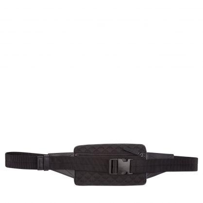 Black Nylon Jacquard Monogram Waist Bag