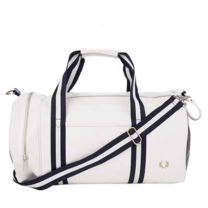 White Contrast Colour Barrel Bag