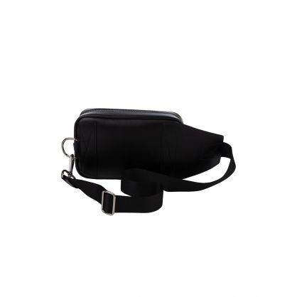 Black Leather Mirto Pocket Hip Bag