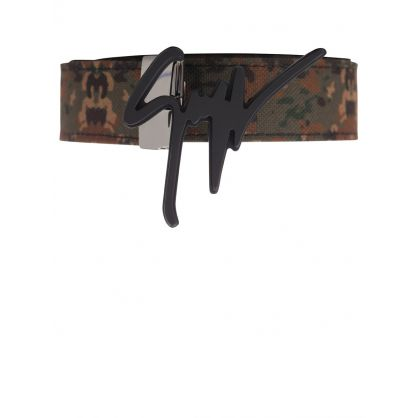 Green Leather Camouflage-Print Belt