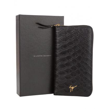 Black Koi-Print Leather Continental Wallet