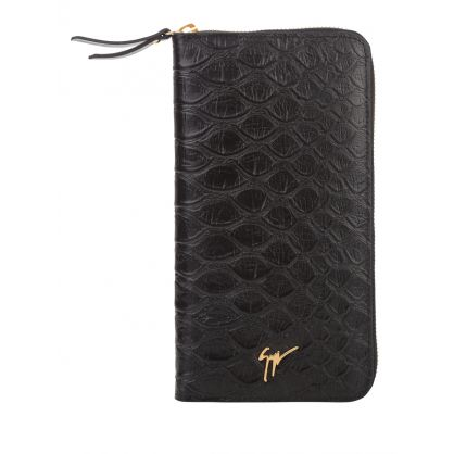 Black Koi-Print Leather Continental Wallet