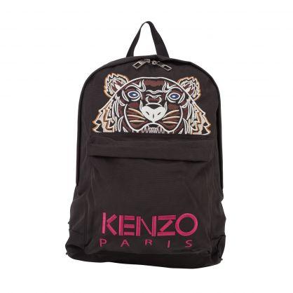 Black Canvas Kampus Tiger Logo Backpack