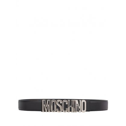 Couture Black/Silver Leather Logo Belt