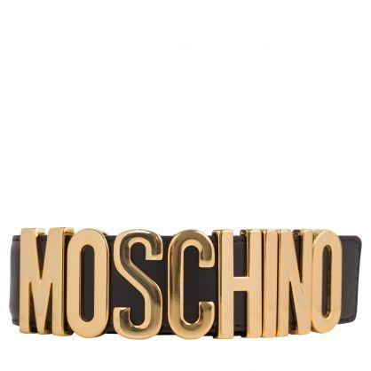 Black Gold-Tone Logo Belt