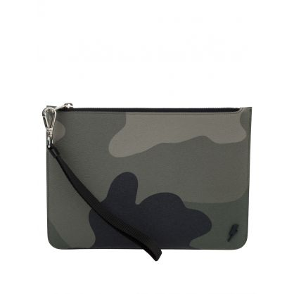 Green Camo Leather Zip Pouch