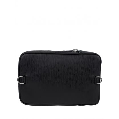 Paul Smith Black Embossed Leather Neck Pouch Bag