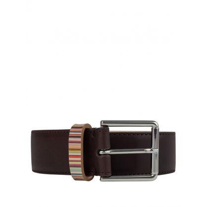 Paul Smith Brown 'Signature Stripe' Keeper Belt