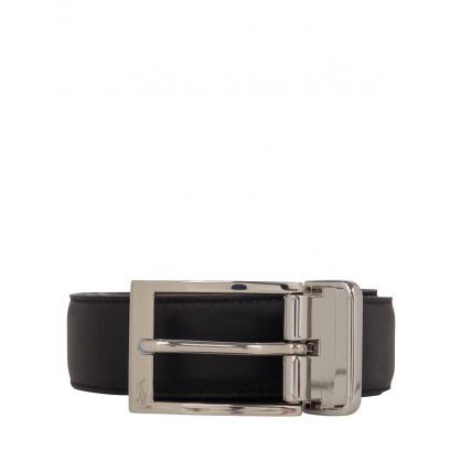 Black/Brown Smooth Leather Buckle Belt
