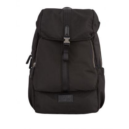 Black Leather-Trim Backpack