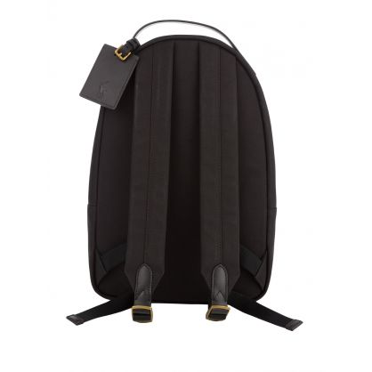Black Leather-Trim Canvas Backpack