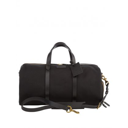Black Leather-Trim Canvas Duffel Bag
