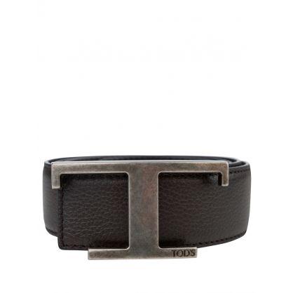 Dark Brown Leather T-Bar Belt