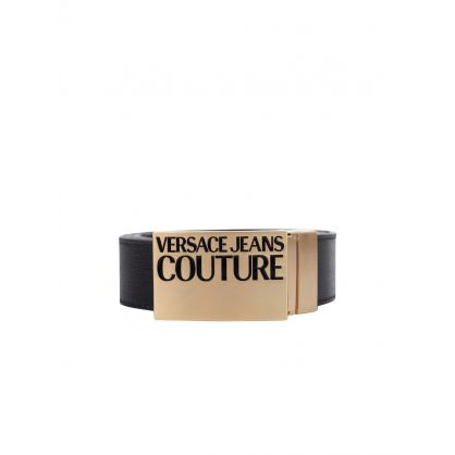 Black Square Buckle Logo Belt