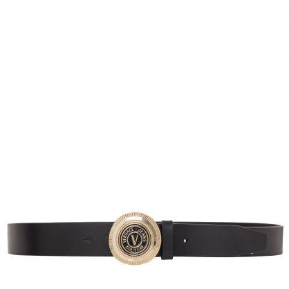 Black Leather V-Emblem Belt