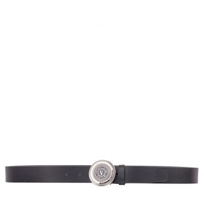 Black/Silver Leather V-Emblem Belt