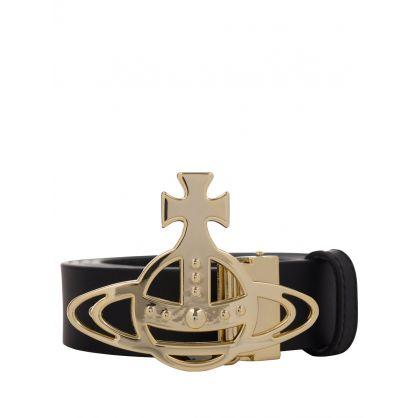Black Line Orb Gold Buckle Belt